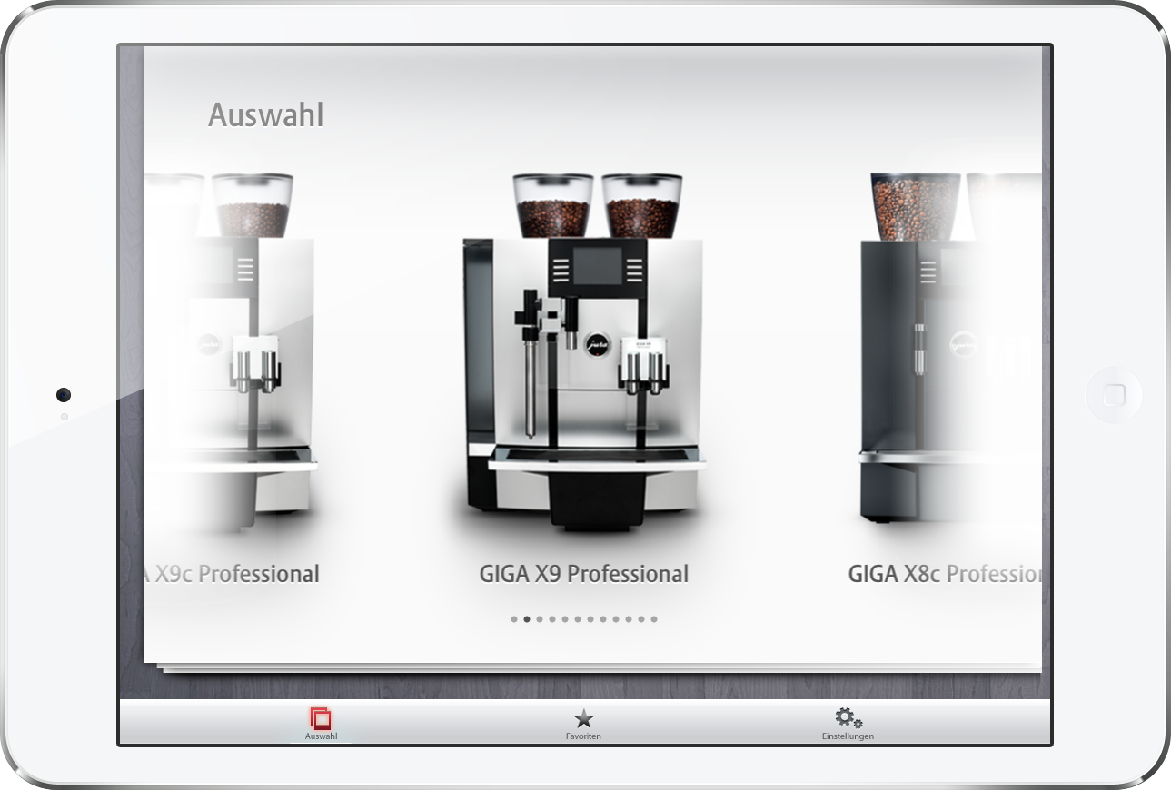 weblooks gmbh jura kaffeemaschinen ipad configurator. Black Bedroom Furniture Sets. Home Design Ideas